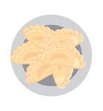 Dumplings on a plate. Ukrainian food. European cuisine. Vector illustration Royalty Free Stock Photos