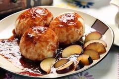 Dumplings with plum sauce royalty free stock photo