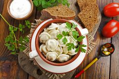 Dumplings in the pot. Delicious dumplings in the pot on the table stock photos