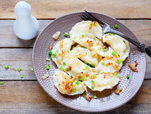 Dumplings with potato and onion rings royalty free stock images