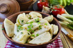 Dumplings with potatoes and cabbage meat Stock Photo