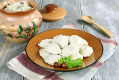 Dumplings with potatoes and mushrooms Stock Photo