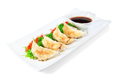 Dumplings, ravioli filled with seafood. Royalty Free Stock Images
