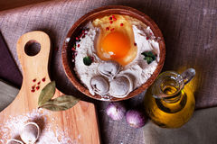 Dumplings ravioli, frozen egg, hand modeling, kitchen garlic, board, flax, bay leaves on top, a beautiful still-life. Hand-made dumplings on the board with flour Royalty Free Stock Photo