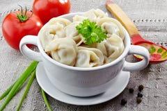 Dumplings russian pelmeni Royalty Free Stock Images