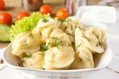 Dumplings (russian pelmeni) Royalty Free Stock Images