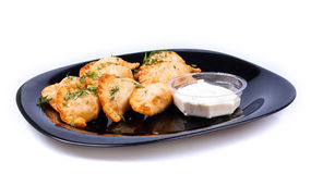 Dumplings with sauce Royalty Free Stock Photography