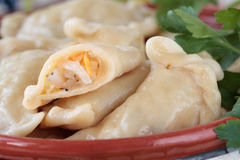 Dumplings with sauerkraut and lard in bowl Royalty Free Stock Image
