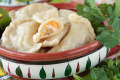 Dumplings with sauerkraut and lard Royalty Free Stock Photo