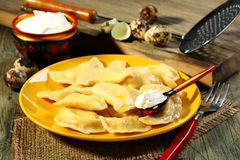 Dumplings with sour cream. Stock Photo