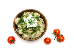 Dumplings with sour cream and cherry tomatoes isolated on a whit Royalty Free Stock Photo