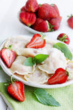 Dumplings with sour cream Royalty Free Stock Images