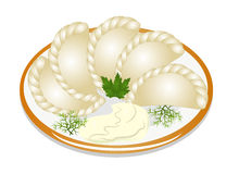 Dumplings with sour cream on the plate. Illustration dumplings with sour cream on the plate Royalty Free Stock Photo