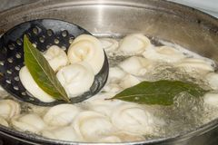 Dumplings stew in the pot with spices and the Bay leaf.  stock photography