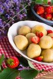 Dumplings with strawberries Stock Photo