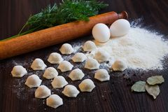 Dumplings on the table. Meat dumplings on the table with a rolling pin, eggs and flour Stock Images