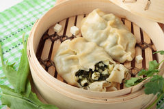 Dumplings of wheat flour with greens and and cheese Royalty Free Stock Photo