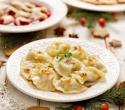 Free Dumplings With Mushroom Cabbage Filling On A White Plate. Stock Photos - 130229713