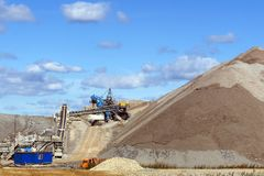 Terra-cone with belt conveyor system. Dumps of mined rock with a system of belt conveyors and spreaders, general view stock image