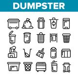 Dumpster, λεπτά εικονίδια γραμμών εμπορευματοκιβωτίων απορριμάτων καθορισμένα απεικόνιση αποθεμάτων