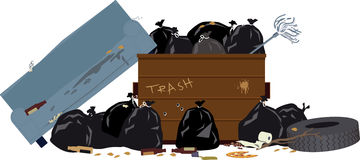 Dumpster. Overfilled dumpster with garbage bags, tire and old couch, EPS 8 vector illustration Stock Image