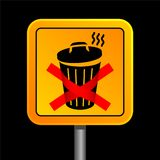 Dumpster sign. Yellow dumpster sign on black background Royalty Free Stock Image
