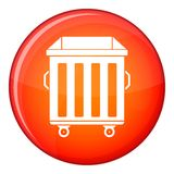 Dumpster on wheels icon, flat style Royalty Free Stock Photography