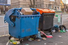 Dumpsters being full with garbage Stock Image