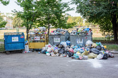 Dumpsters being full with garbage Stock Photography