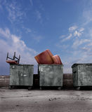 Dumpsters with old furniture Royalty Free Stock Images