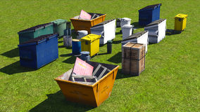 Dumpsters and skips Royalty Free Stock Photo