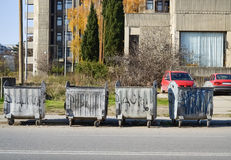Dumpsters on the street Royalty Free Stock Photography
