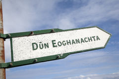 Dun Eoghanachta Landmark Signpost; Inishmore; Aran Island. Ireland Royalty Free Stock Photo