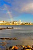 Dun Laoghaire. Rainbow over Dun Laoghaire, Co.Dublin, Ireland Stock Photo