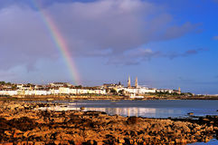Dun Laoghaire. Rainbow over Dun Laoghaire, Co.Dublin, Ireland Stock Image
