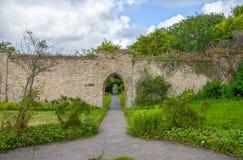 Dun raven Castle garden. Path through the garden in the Dunraven Castle Park Stock Photos