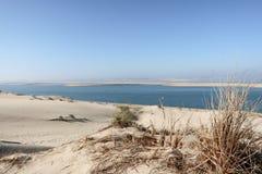 Duna de Pilat en Pyla la duna de arena más alta más alta de Europa en la bahía Aquitaine France de Arcachon en Océano Atlánt foto de archivo libre de regalías