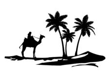 Duna del desierto de la etiqueta de la pared de la palmera del camello islámica stock de ilustración