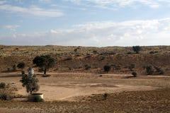 Duna e mulino a vento rossi della Kalahari Fotografia Stock