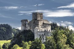 Dunajec Castle is a medieval fort located on the right bank of the Czorsztyn Reservoir in the village of Niedzica-Zamek, Poland. Stock Photos