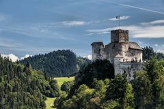 Dunajec Castle is a medieval fort located on the right bank of the Czorsztyn Reservoir in the village of Niedzica-Zamek, Poland. Royalty Free Stock Images