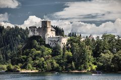 Dunajec Castle is a medieval fort located on the right bank of the Czorsztyn Reservoir in the village of Niedzica-Zamek, Poland. Stock Image