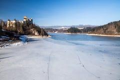 Dunajec castle in Niedzica, Poland, Czorsztyn lake. At winter royalty free stock photos