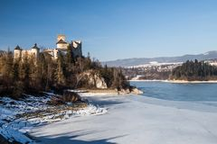 Dunajec castle in Niedzica, Poland, Czorsztyn lake. At winter stock images