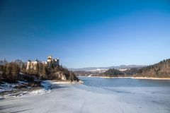 Dunajec castle in Niedzica, Poland, Czorsztyn lake. At winter stock photography