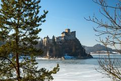 Dunajec castle in Niedzica, Poland, Czorsztyn lake. At winter stock photo