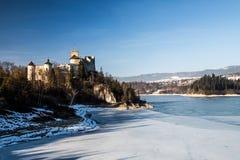 Dunajec castle in Niedzica, Poland, Czorsztyn lake. At winter royalty free stock photography