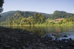 Dunajec river. Castle Dunajec in Kroscienko, Pieniny Mountains Stock Image