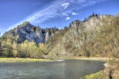 Dunajec river gorge in spring. Dunajec river gorge in Pieniny mountains, Poland in springtime Stock Image