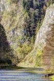 Dunajec river gorge in spring. Dunajec river gorge in Pieniny mountains, Poland in springtime Stock Photo